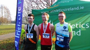 Niall  Sheehan (Gowran) All-Ireland Intermediate Cross-Country Champion with Colin Maher (Ballyfin) and Ian Guiden (Clonliffe Harriers).