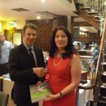 Cllr. Michael Doran making a presentation to Association Chairperson Claire Nolan Sturley